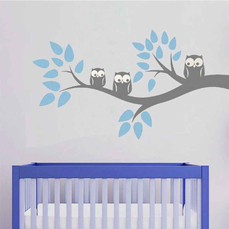 Cute Three Owls Branch Wall Decal Sticker Home Decoration Vinyl Mural - Home Decor - Photo 1