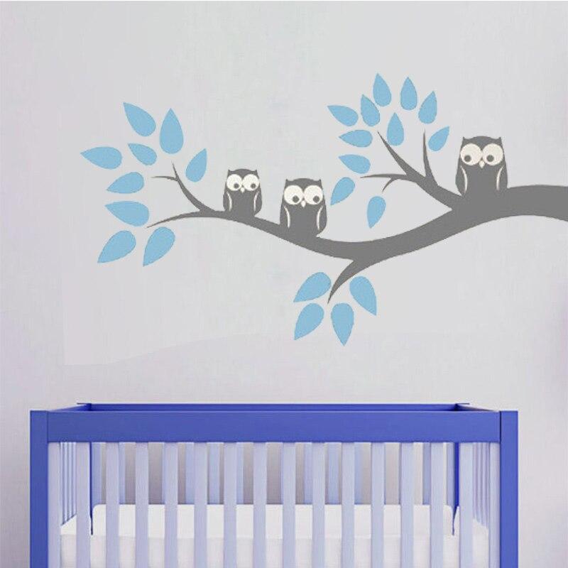 Cute Three Owls Branch Wall Decal Sticker Home Decoration Vinyl Mural Wallpaper Children Kids Baby Bedroom Dining Room 57x105cm