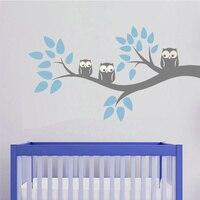 Sevimli Üç Baykuşlar Şube Duvar Çıkartması Sticker Ev Dekorasyon Vinil Duvar Kağıdı Çocuk Çocuk Bebek Yatak Yemek Odası 57x105 cm