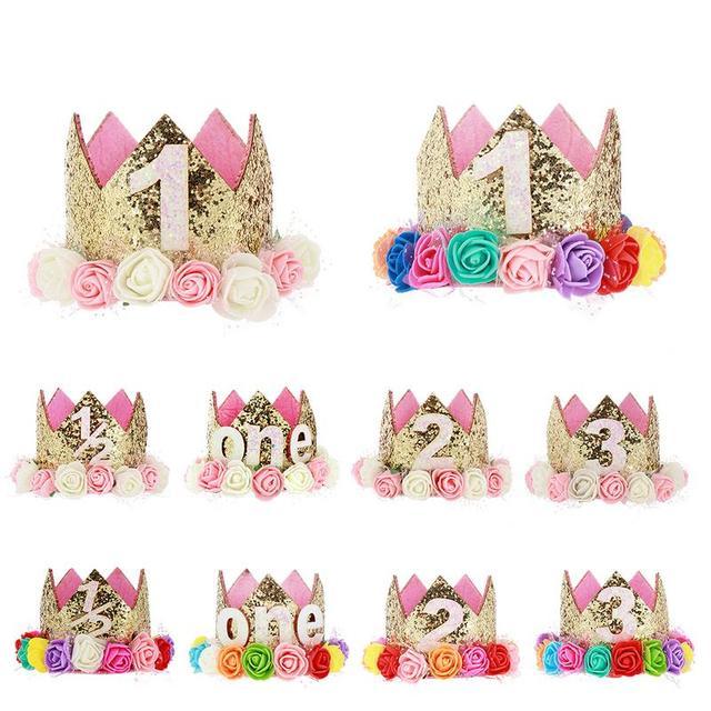 Feliz cumpleaños bebé fiesta sombreros decoración gorra 1 2 un sombrero de  cumpleaños princesa corona 73002792cfb