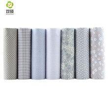 Shuanshuo 7pcs/lot Lattices&Stripes Print Patchwork Fabric Fat Quarter Bundles Cotton Fabric For Sewing Doll Cloths 40*50cm
