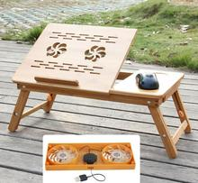 Laptop Table With Cooler Folding Bamboo Notebook Desk