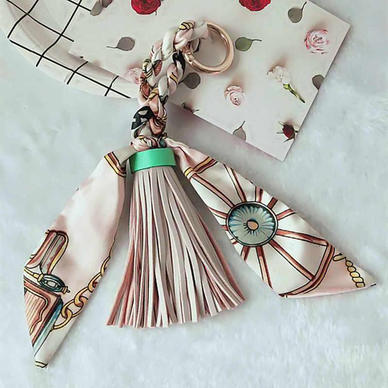 Moda Lenços de Venda Quente Chave titular Bowknot Decoração Requintada PU Borlas De Couro Chaveiros Mulheres Pingente Charme Bag EH810