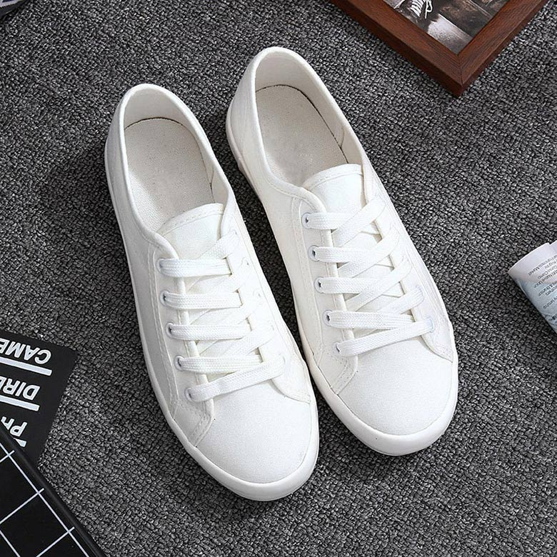Classic White Sneakers Women 2019 New Lace-up Summer White Shoes Woman PU Leather Female Shoes Casual Women Shoes Sneakers