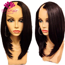 New Arrival 8A 130 Density U Part Human Hair Wigs 100% Virgin Straight Wig Brazilian Cheap Short Wigs For Black Women Human Hair