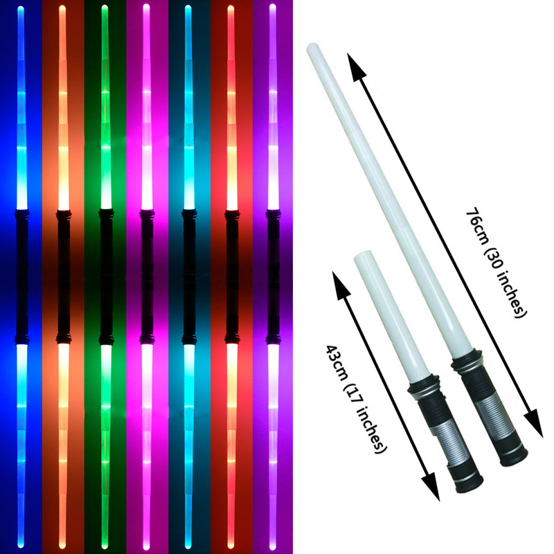 2pec/lot Star Wars Lightsaber Led Flashing Swords Toy Cosplay Props Kids Double Light Saber Toy Sword for Boys Christmas Gifts