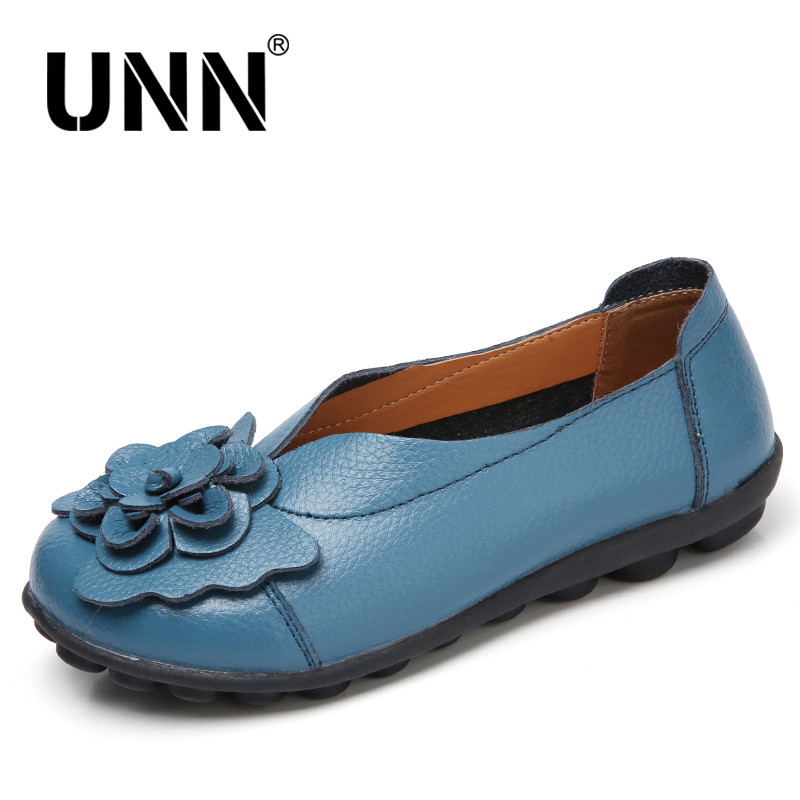 UNN Spring/Autumn Women Ballet Flats Genuine Leather Loafers Shoes Slip on Flat Heel Shoes Ladies Loafers Ballerina Flats 5-9.5 big size 34 44 2018 spring women flats shoes women genuine leather flats ladies shoes female cutout slip on ballet flat loafers