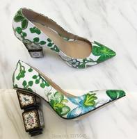 Ravryy зеленый вышитые странный каблук женские туфли с острым носком Цветочные Туфли лодочки женские модные свадебные туфли