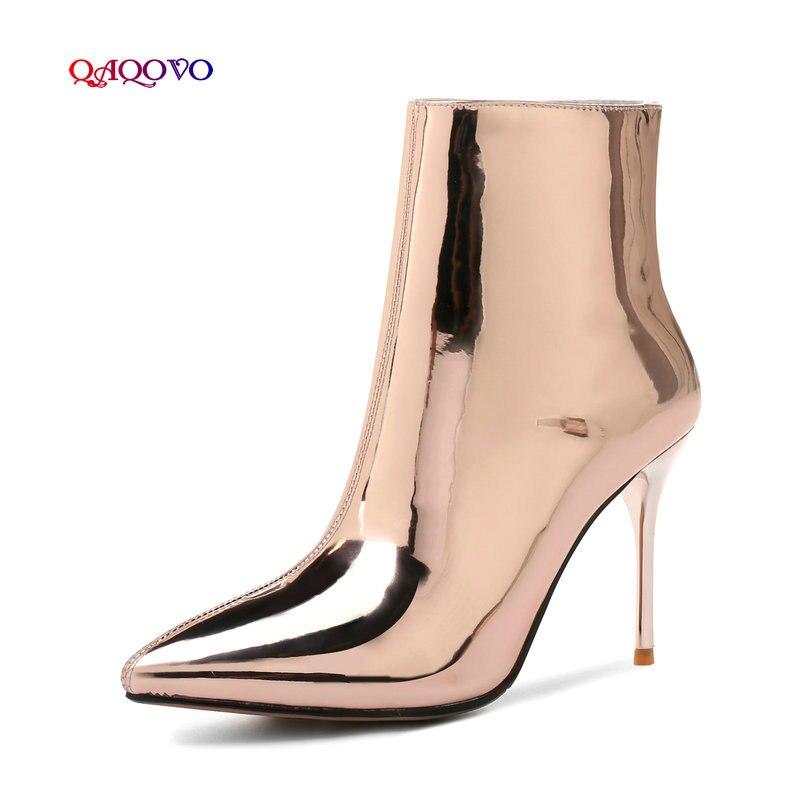 Mujeres Patente Invierno Punta Plata Superior Sexy Botas Cuero Cremallera Cálido Delgada Oro Moda plata Oro Botines Piel Con Las Zapatos Tacones De t40Sq