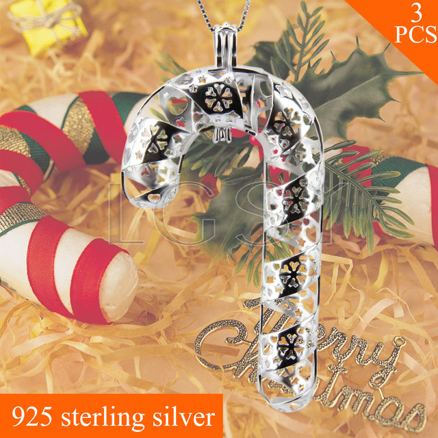 Lovely LGSY FREE SHIPPING Christmas Gift 925 Sterling Silver Candy Cane Cage  Pendants Necklace Pearls Charms 3pcs