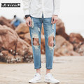 2017 New Summer Style Ankle Length Ripped Jeans Men High Quality Famous Brand Male Denim Jumpsuit Oversized Jeans Pants Hot Sale