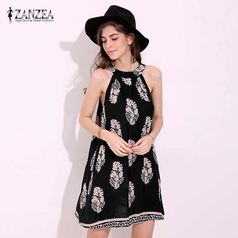 ZANZEA 2020 여성 빈티지 캐주얼 루즈 민소매 꽃 프린트 드레스 섹시한 숙녀 Boho 비치 미니 드레스 Vestidos Plus Size