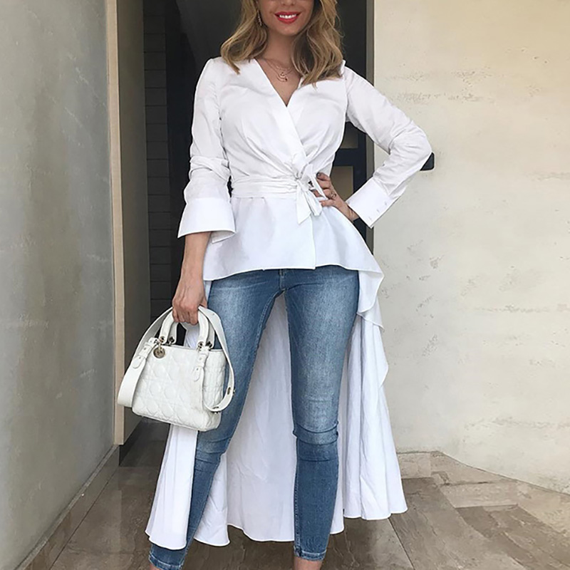 2018 Women Fashion Elegant Vintage Tunic Asymetrical V-Neck Blouse Ladies Wrap Shirt Solid Long Sleeve Dip Hem Belt Casual Top