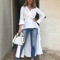 2019 Женская Модная элегантная винтажная Туника asyblusa с v-образным вырезом блузка женская рубашка с длинным рукавом Dip Hem Belt Повседневный Топ
