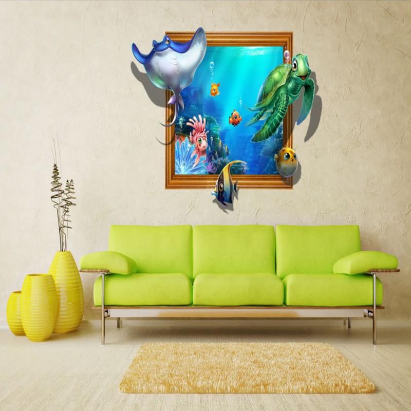 купить Free Shipping high quality HD underwater world 3D flooring painting wallpaper kitchen office wear floor mural дешево