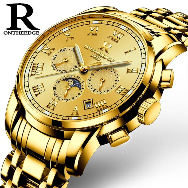 цены на Reloj Hombre Top Brand Fashion Automatic Mechanical Watch Men Full Steel Gold watch Relogio Classic Business Wristwatch zegarka в интернет-магазинах