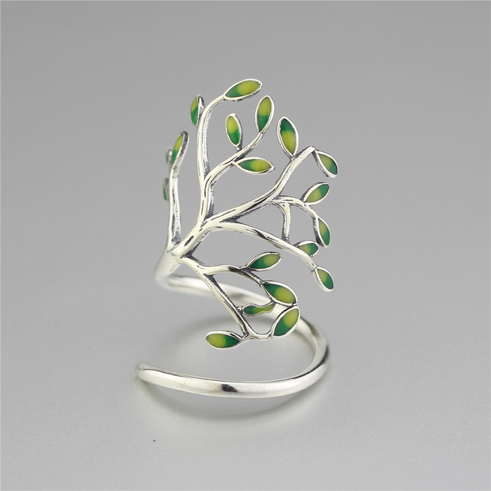 925 Sterling Silver Drop Glaze Leaves Open Rings Za - Modni nakit - Foto 4