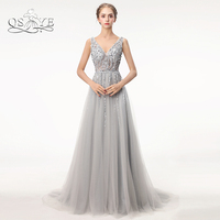Sparkly Beading Sexy Plunging V Neck Long Tulle Prom Dresses 2017 Robe De Soiree Backless Evening