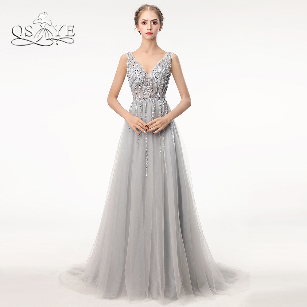 Sexy Side Split Prom Dresses 2018 Deep V Neck Backless ...