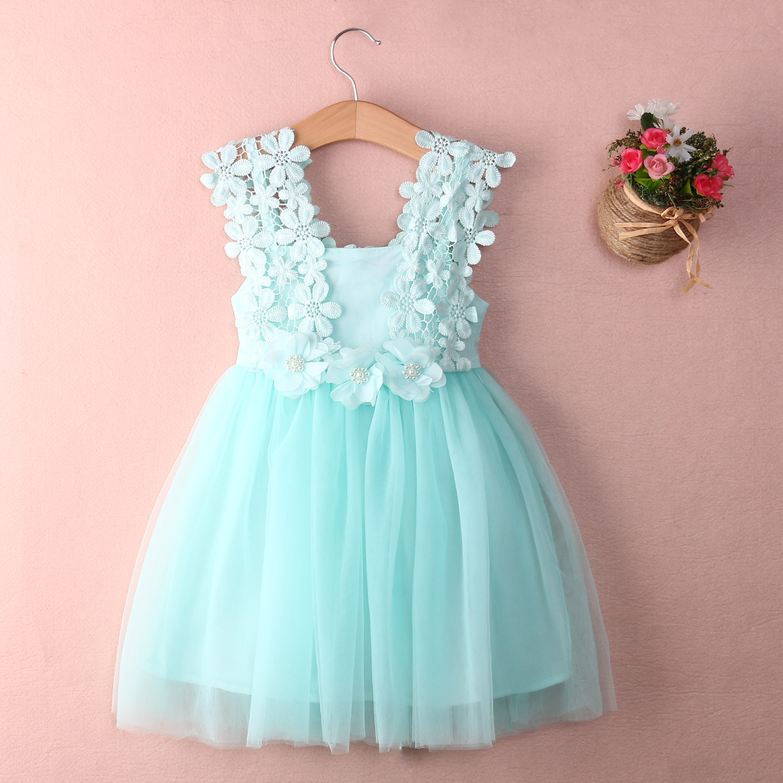 Adorable Kids Baby Girl Dress Princess Party Pearl Lace Tulle Flower ...