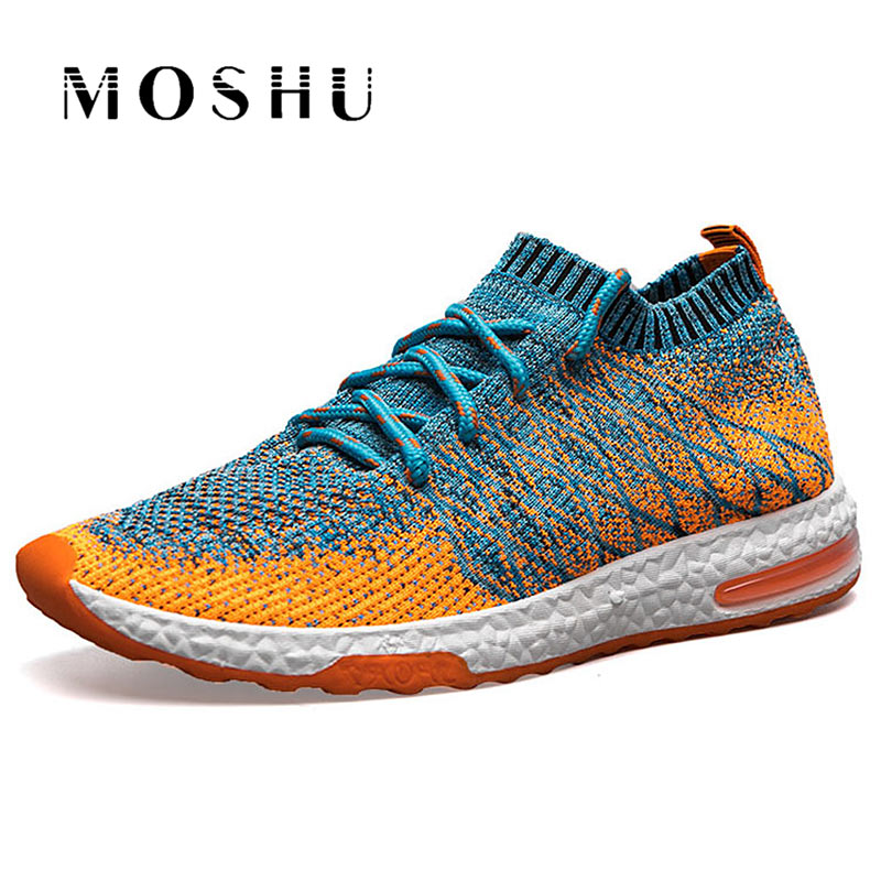 Air Mesh Men Sneakers Summer mix color Casual Shoes male Breathable Trainers lace up Gray Orange Mens Zapatillas Hombre