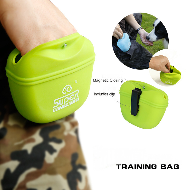 Outdoor Walking Silicone Pocket Food Storage Bag Waterproof Waist Hanged Food Storage Bag Portable Outdoor Training Dog Food Bag