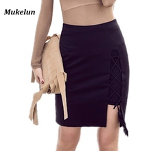 Short Skirt Cross-Pencil Split Bodycon Hollow-Out Black Elegant Sexy Summer Lace-Up Spring