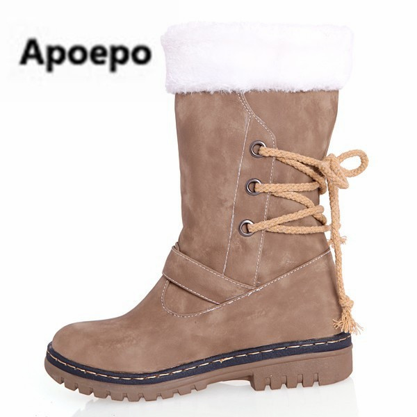 Apoepo low price promotion snow boots flats women Christmas boots fur mid-calf boots Women's winter shoes lace up zapatos mujer stylish faux fur and lace up design women s mid calf boots