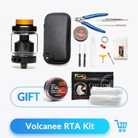 Volcanee Dual Coil RTA Atomizer Tank with X6 Case Prebuilt Coil Tool Kit Bag Bacon Cotton E Cigarette Juice Vape oil Accessories