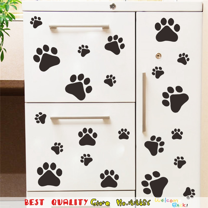 Dog cat bear paw print wall stickers home decoration wall decals self adhesive wallpaper craft summer style poster kids room in wall stickers from home