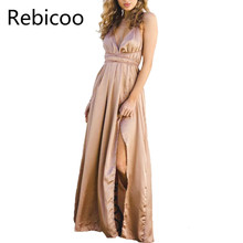 New satin backless sexy dress women elegant deep v neck Split maxi dresses 2018 fashion long Christmas party dresses vestidos клип оптический julbo julbo clip optique для googles l