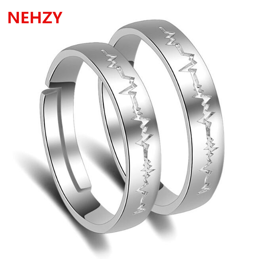 nehzy the new fashion simple love heart shaped couple of ring ring lightning men and women wedding ring silver gifts - Selling Wedding Ring