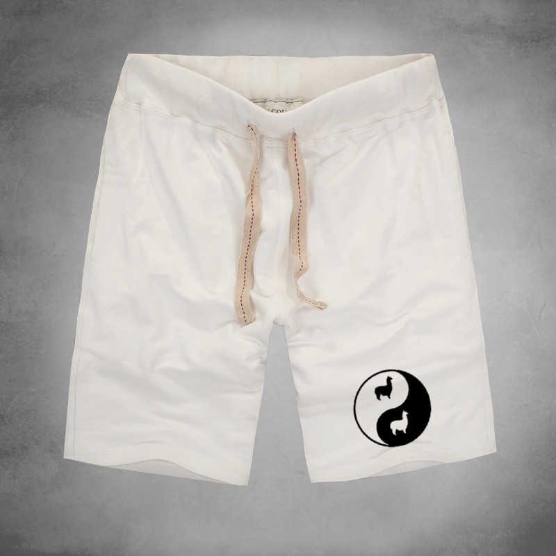 1 Llama Bagua Print Shorts Funny Rock Pajama Trunks Sexy Board Men Alpaca Drama Short Pants Yin Yang Minions Eight Trigram