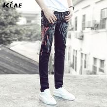 2015 новый Черные джинсы печатных джинсы дизайнер высокого мужчина джинсы штаны случайные мужские размер 28-36