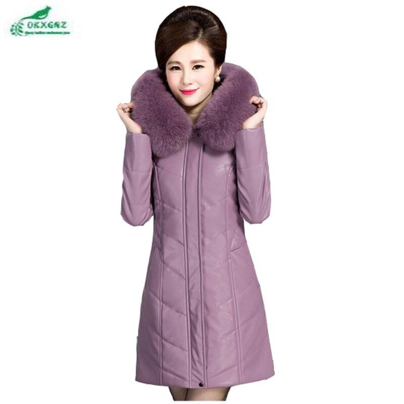 Winter   leather   feather cotton jacket women medium long warm elderly leisure plus size loose thickening Outerwear female OKXGNZ