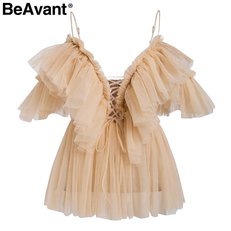 BeAvant Off shoulder womens tops and blouses summer 19 Backless sexy peplum top female Vintage ruffle mesh blouse shirt blusas 9