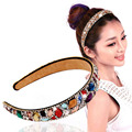 Fashion Colorful Crystal Wide Hairbands Lady Hair Jewelry Handmade Crystal Headband Hair Band elastic hairband women hair access