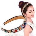 Moda Colorida de Cristal Hairbands Largas Lady Jóias Artesanal Cabelo Cristal Headband Faixa de Cabelo hairband elástico de cabelo das mulheres de acesso