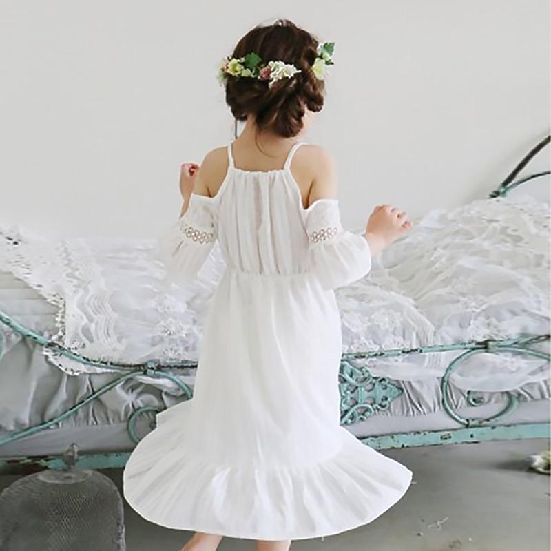 praia vestido elegante rendas algodão vestido de