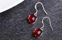 Luxury Jewelry Girls Earrings Fashion for women sterling-silver-jewelry Opening Natural Red gem Adjustable Women EARRING