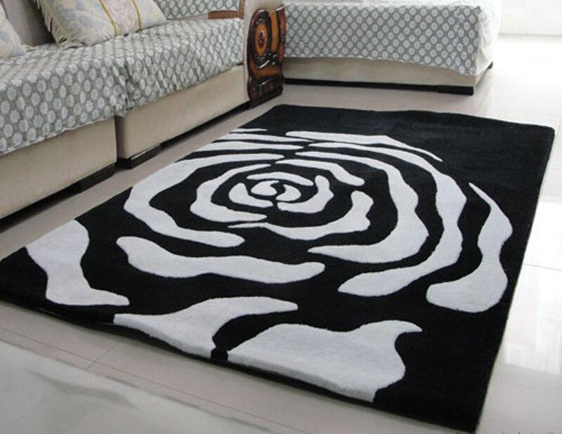 Tapijt Zwart Wit : Zwart wit carpet handgemaakte d kleed reliëf rose bloem carpet
