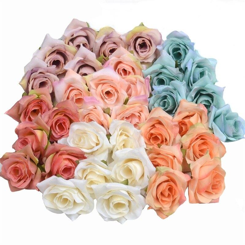 Искусственный цветок 100 шт./лот, 4 см, Шелковая Роза, цветок на голову, свадьбу вечерние, украшение для дома, венок «сделай сам», скрапбукинг, р...
