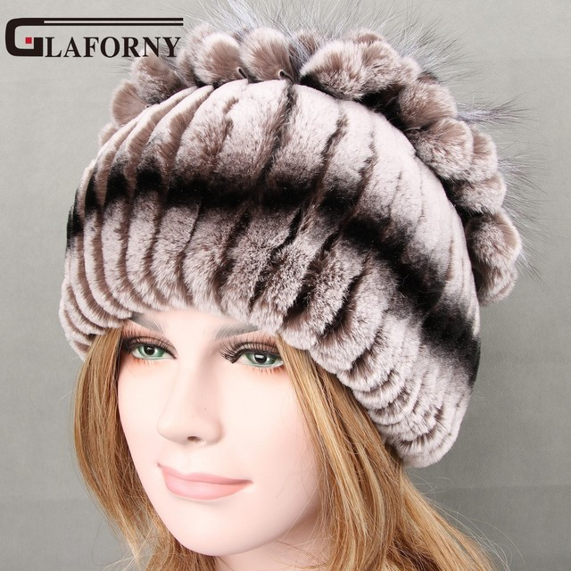 Glaforny 2017 Winter Women Fur Beanies Knitted Rex Rabbit Fur Hat with Fox  Flower Top Casual Women s Fur Hats 5 Colors Fur Caps c2e8281199a