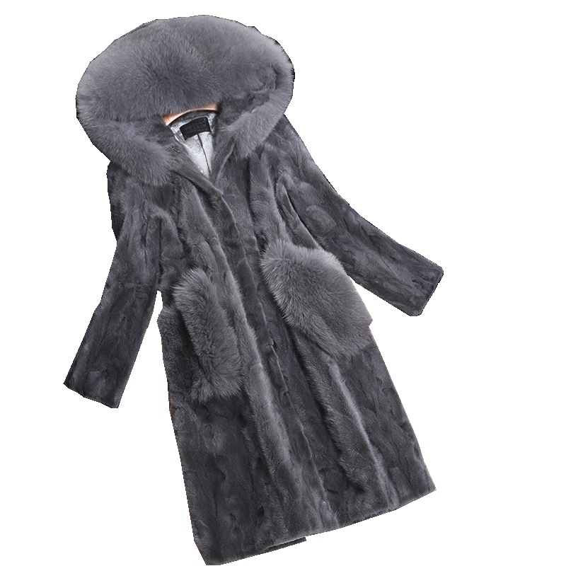 Luxury Genuine Piece Mink Fur Coat Jacket Fox Fur Hoody Autumn Winter Women Fur Warm Outerwear