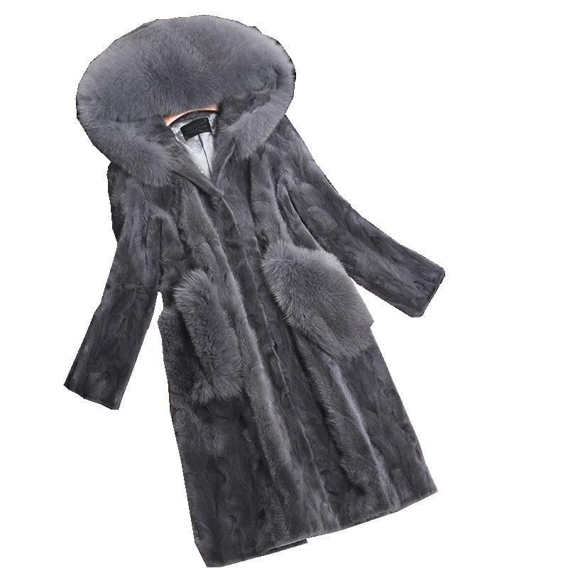 Luxury Genuine Piece Mink Fur Coat Jacket Fox Fur Hoody Autumn Winter Women Fur Warm Outerwear