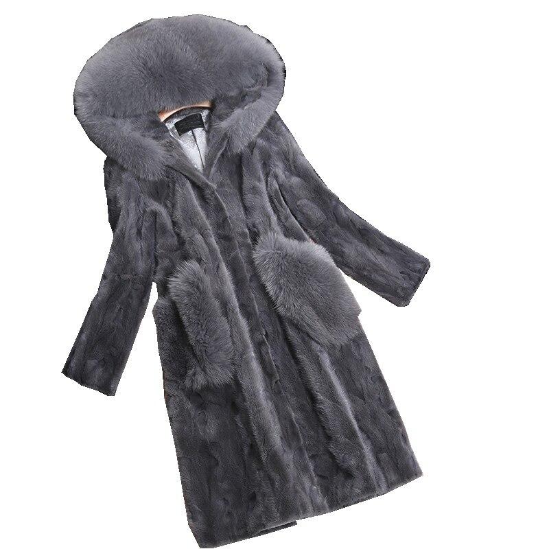 Luxo Peça Genuína Pele De Vison Casaco Casaco de Pele De Raposa Com Capuz outono Inverno As Mulheres De Pele Quente Casacos Casacos Vestuário 3XL 4XL LF4225