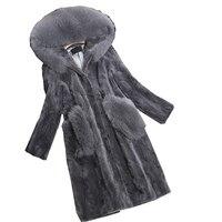 Luxury Genuine Piece Mink Fur Coat Jacket Fox Fur Hoody Autumn Winter Women Fur Warm Outerwear Coats Garment 3XL 4XL LF4225