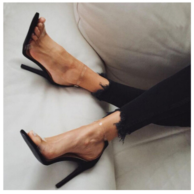 Concise Sexy Women Pumps PVC Clear Silver Buckle Ankle Strap High Heel Stiletto Shoes Woman Party Clubwear Summer Cool Sandals xiaying smile summer woman sandals women pumps buckle strap high thin heel fashion casual sexy bling rivet rubber women shoes