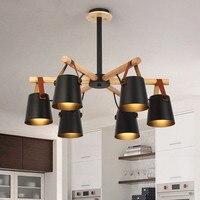 Дизайнерская люстра освещение светодиодный Современные светодиодные люстры с железными абажурами 110 В 220 в деревянные люстры фойе подвесно
