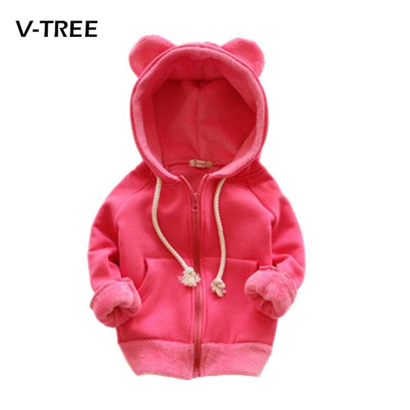 New winter girls outwear jacket long sleeve children jackets hoodies fleece kids coat tops 2 7Y